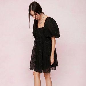 Nasty Gal Jacquard Square Neck Puff Sleeve Dress